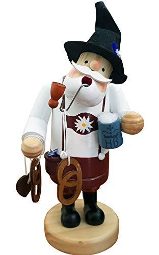 SEEAS Räucherfigur Bayer - XL 19cm Holz - stilecht mit Lederhose Brezel Bierkrug und Hut
