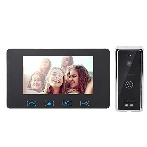 Videoportero, 7in TFT LCD Video IR Night Vision Doorbell Kit Video Intercom(European Standard 110-240V)