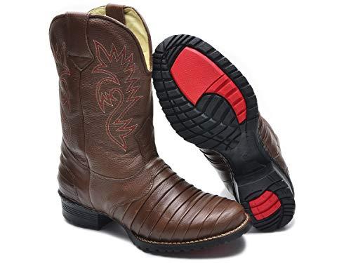 Bota Texana Masculina Couro Legitimo Cano Médio Palmilha De Gel (43)