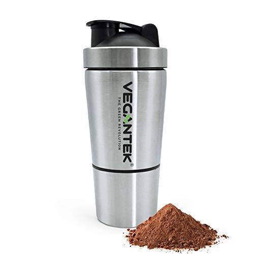 VeganTek Protein-Shaker Edelstahl-Flasche 700ml (500ml + 200ml) für Sportler mit auslaufsicherem Deckel BPA-freier Fitness-Zusatz Geruchsneutraler Shaker mit Edelstahl und extra Aufbewahrungsfach