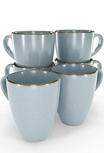 Tassen Set 6-tlg. - Kaffeetassen Set in Trendy Rustikalem Design in Blau - Spülmaschinenfeste Porzellan Tassen - Moderne Kaffeetassen 6er Set - Kaffeebecher Porzellan von Pure Living