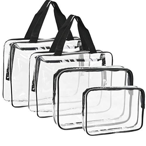 4 Stück Transparente Kosmetiktasche Transparent Kosmetiktasche Wasserdicht Kulturbeutel Reise wasserdicht PVC Transparent Kulturtaschen Make-Up Tasche Reise Toiletbag Mit ReißVerschluss