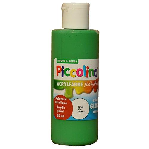 Piccolino Hobby Paint - Pintura acrílica Brillante (Botella de 85 ml), Color Verde