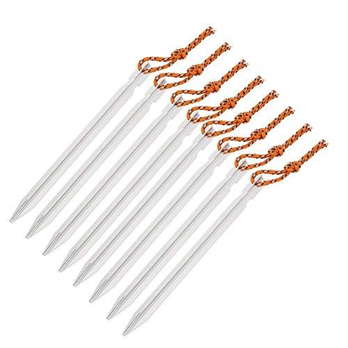 8 stks aluminium tentstokken haringen tent nagels met touw camping accessoires voor camping tent (18 cm)
