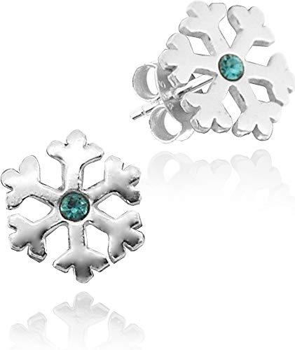 LUISIA Juego de joyas de copo de nieve con cristal de Swarovski – Plata de ley 925 – Selección, Pendientes - Azul, Talla única