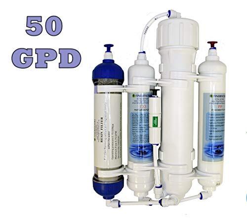 Finerfilters - Filtro compatto ad osmosi inversa a 4 fasi con resina DI, per pesci tropicali, marini, discus; 50, 75, 100 GPD