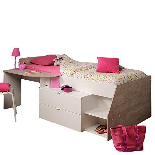 Hochbett Milky 90 * 200 cm weiß/grau inklusive Schreibplatte + Kommode + Ablagefach Jugend Kinderzimmer Spiel Kinderbett