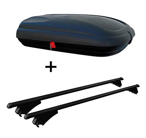 Dakbox VDPCA320 320 320 ltr carbonlook + dakdrager tijger, compatibel met FIAT 500 X vanaf 2015 liggende dakrails
