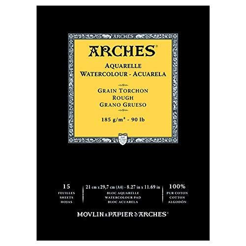 Arches - Bloc De Papel De Acuarela Con 15 Hojas, Grano Grueso, A4