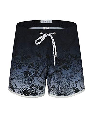 APTRO Damen Badeshorts Kurze Badehose Strand Wassersport Shorts Boardshorts UV Schutz Sommer Shorts Farbverlauf Grau WS211 2XL