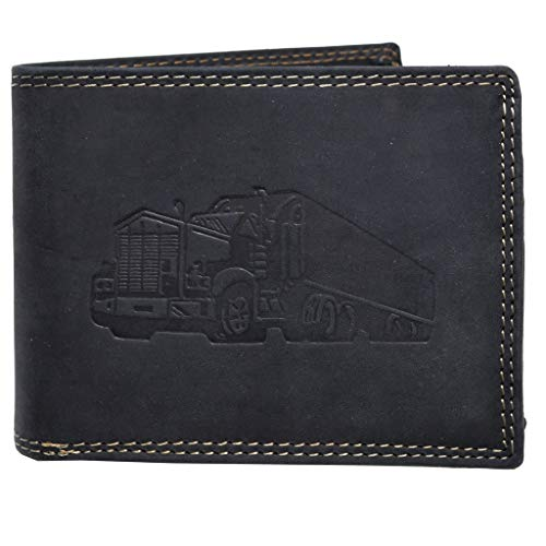 Voll Leder Geldbörse mit RFID Schutz und Prägung Truck LKW Fernfahrer Portemonnaie Geldbeutel