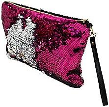 Sequin Makeup Bag Reversible Cosmetic Bag, Winmany Fashion Women Handbag Bling Glitter Evening Party Bag,Sparkling Shiny Clutch Handbag Wedding Bag Purse Wallet Pouch (hot pink)