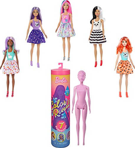 Barbie Color Reveal Doll with 7 Surprises: Water Reveals Doll's Look & Creates Color Change on Face & Sculpted Hair; 4 Mystery Bags Contain Surprise Wig, Skirt, Shoes & Sponge; Animal-Themed
