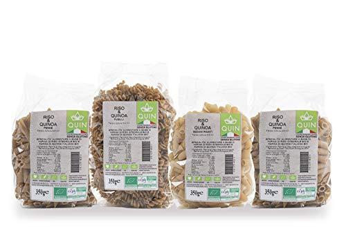 QUIN - Box Pasta Biologica di Riso e Quinoa Bio Italiana - 4 Pacchi da 350g - Senza Glutine