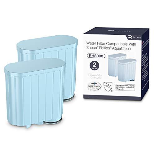 Rhodesy Wasserfilter AquaClean CA6903 für Philips Kaffeemaschine mit Aktivkohle-Enthärter, Kalkschutz Alkali Null Wasserfilter für Philips AquaClean Kaffeevollautomat (2pcs)
