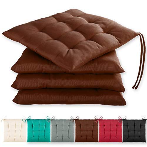 Gräfenstayn® 4er-Set Sitzkissen 40x40x3cm mit Haltebändern für Indoor und Outdoor mit Öko-Tex Siegel - (Braun)