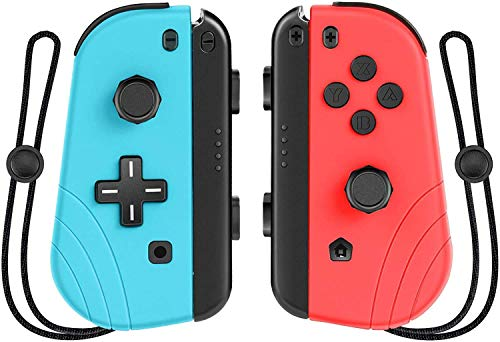 Proslife Joy Pad Controller for Switch,Wireless Controller Replacement for Switch Joycon with Wrist Strap Adjustable Turbo and Dual Vibration-Red and Blue