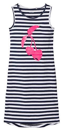 NAME IT NOS Mädchen NKFVIPPA SL Maxi Dress NOOS Kleid, Weiß (Bright White Print: Cherry), Herstellergröße: 146