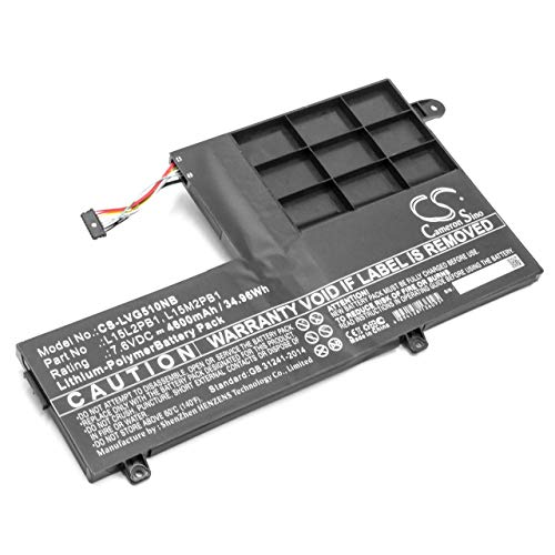 vhbw Battery compatible with Lenovo Yoga 510-14IKB-80VB004DGE, 510-14IKB-80VB004RMJ Laptop (4600mAh, 7.6V, Li-Polymer, black)