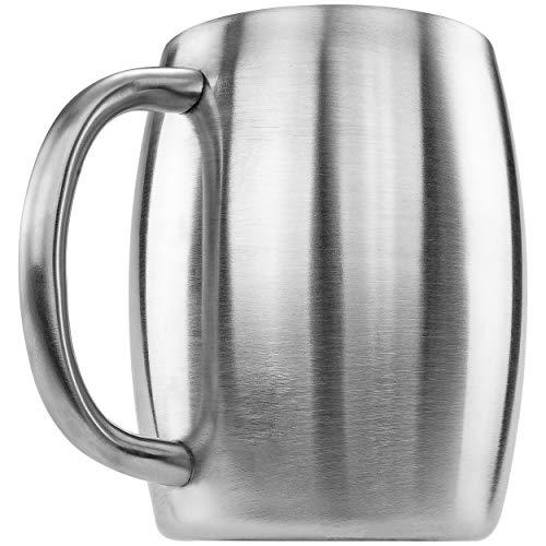 Southern Homewares doppelwandiger Edelstahlbecher für Bier/Kaffee/Schreibtisch, 400 ml, silberfarben