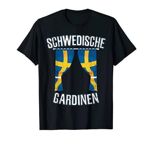 Cortinas suecas con la bandera de Suecia Escandinavia divertida Camiseta