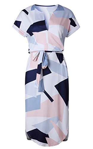 ECOWISH ECOWISH Sommerkleider Damen Kurzarm V-Ausschnitt Strand Blumen Kleider Abendkleid Knielang Weiß XL