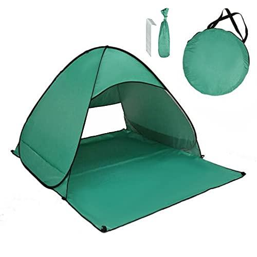 Pop Up Tienda de Playa para 1-3 Personas Anti-UV Protección Solar UPF 50+ Tienda de Playa Portátil para Playa,Jardín, Camping, Viajes, Pesca, Picnic y Deportes al Aire Libre(Verde)