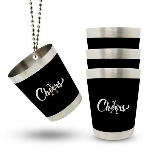 Cheers 4 bicchierini da liquore in acciaio inox con catena da 4 cl, per feste di addio al celibato, donne e uomini, squadre, sposa, feste, accessori JGA