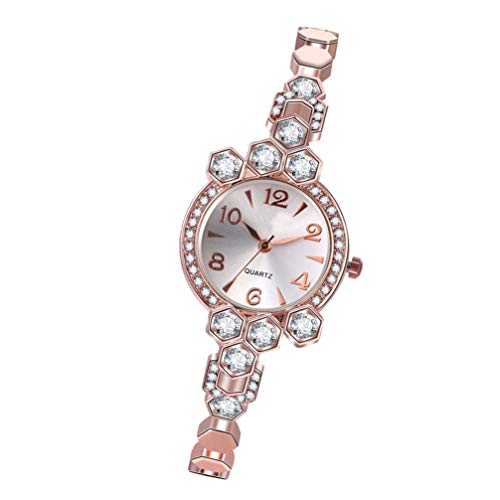 Scicalife Edelstahl Uhr- Legierung Uhr Quarzuhr- Roségold Armbanduhr für Frauen Zarte Uhr Armbanddekoration für Mädchen Reisen