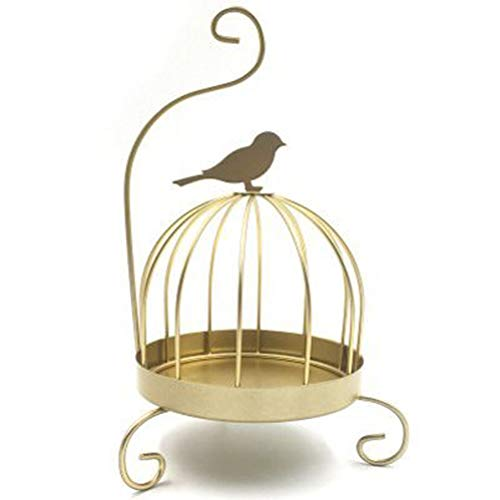 ZYZYZY Birdcage Incense Holders,Mosquito Coil Tray Bracket Iron Mosquito Coil Holder Incense Sandalwood Mosquito Repellent Coil Hanging Home Decorative Bird-Gold 14x14x27.5cm