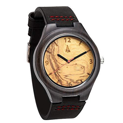 Treehut Men's Ebony Olive Ash Wooden Watch with Genuine Black Leather Strap Quartz Analog with Miyota Movement, 1.3 inches