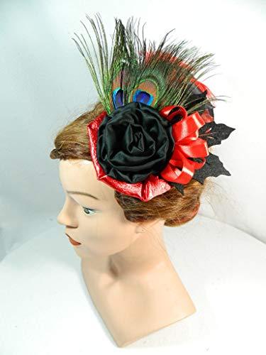 Fascinator rot schwarz Pfau Feder Kopfschmuck Gothic Burlesque Formal Damenhut Cocktailhut