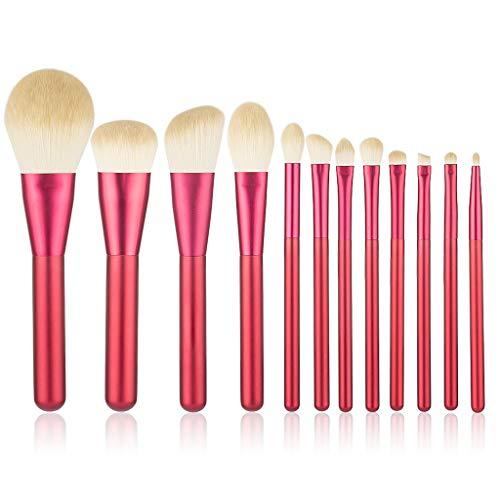 12 pièces Laine artificielle Set de pinceau de maquillage Poudre pour le visage Fondation Kabuki Rougir Pinceaux à paupières trousse de maquillage (Rouge)
