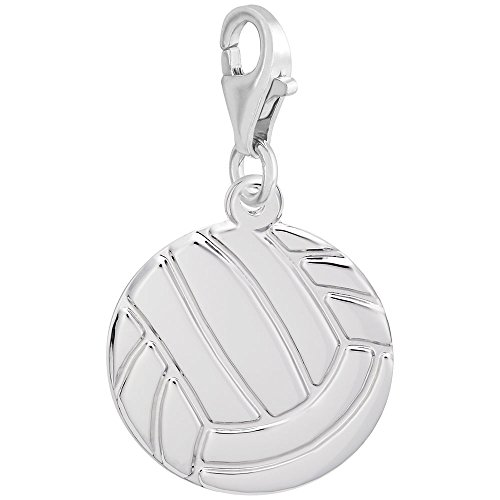 Sterling Silver Volleyball Charm With Lobster Claw Clasp, Charms for Bracelets and Necklaces