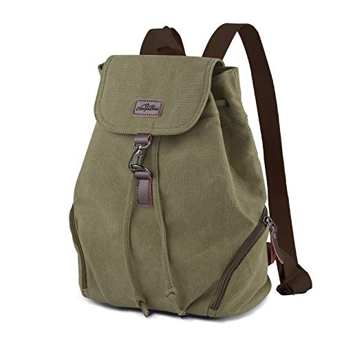 AtailorBird Canvas Backpack Womens, Anti-Theft Waterproof Rucksack Mini Vintage Drawstring Bag for Travel Casual School Work, Army Green