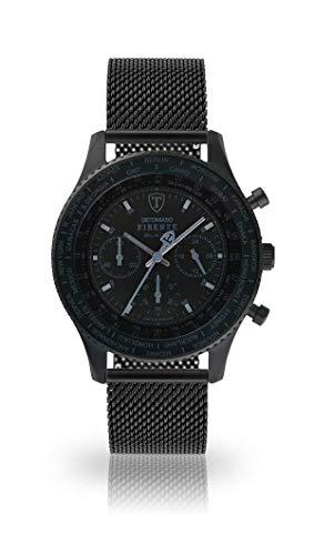 DETOMASO Firenze Herren-Armbanduhr Chronograph Analog Quarz schwarzes Milanaise Mesh Armband schwarzes Zifferblatt DT1068-A-847