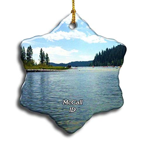 'N/A' McCall Payette Lake USA America Christmas Ceramic Ornament Xmas Tree Decor Souvenirs Double Sided Snowflake Porcelain Home Gifts