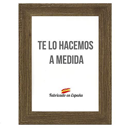 Marco a Medida para Fotos, póster, Puzzles, láminas. Cuadro Modelo 188 Nogal,...