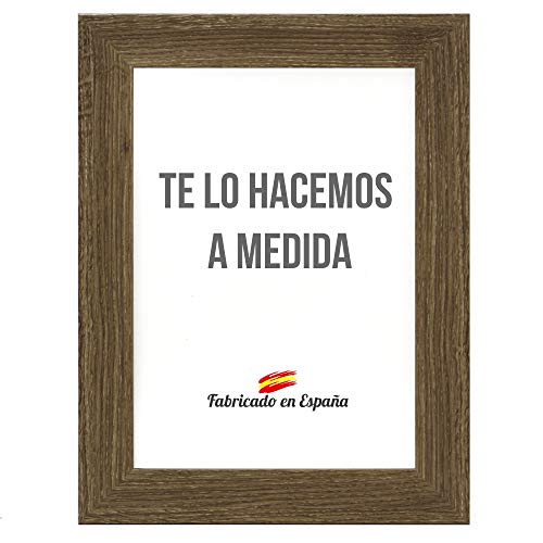 Marco a Medida para Fotos, póster, Puzzles, láminas. Cuadro Modelo 188 Nogal, con Cristal metacrilato 1.5 mm y Trasera Antihumedad 50x75 cm