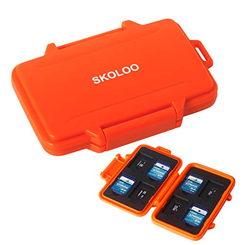 SKOLOO SD Card Case Waterproof Memory Card Holder Micro Storage & Wallet for Card, Orange