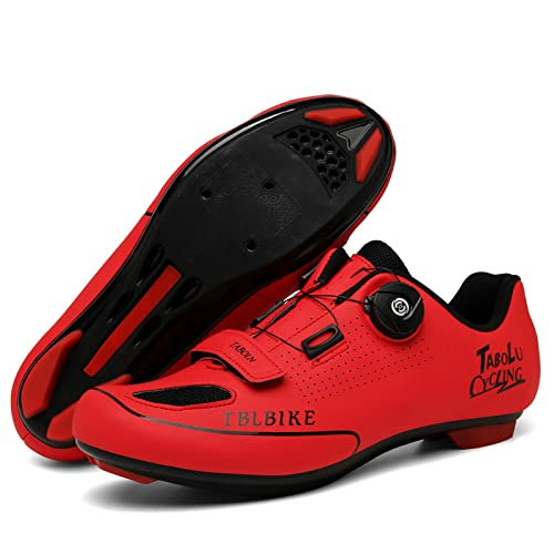 ASORT Calzado de Ciclismo para Hombre Calzado de Bicicleta de Carretera y Montaña para Mujer Calzado de Bicicleta para Interior y Exterior,RedB-46EU
