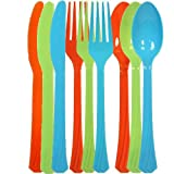 Tiger Chef 72-Pack Plastic Cutlery Set Heavy Duty Colored Plastic Silverware Set includes 24 Forks, 24 Teaspoons, and 24 Knives in Lime Green, Island Blue and Orange