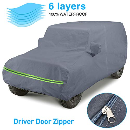 KAKIT 6 Layers Heavy Duty Cover for Jeep Wrangler 100% Waterproof All Weather with Driver Door Zipper Super Soft Inner Cover for Jeep 2 Doors 1987-2020