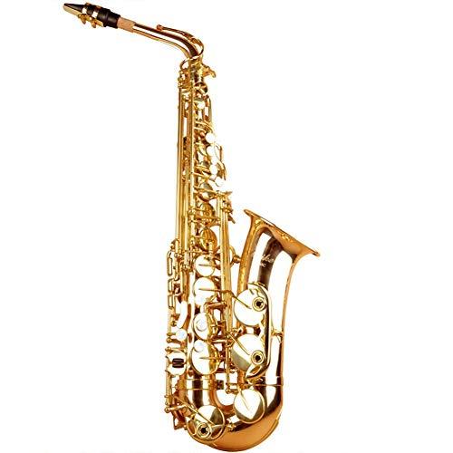 WYJW Altsaxophon, Goldlack und vernickelte Tasten Es-Altsaxophon Geeignet für Anfänger, um professionell zu Spielen