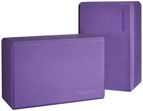 AmazonBasics Foam Yoga Blocks - 4 x 9 x 6 Inches, Set of 2, Purple