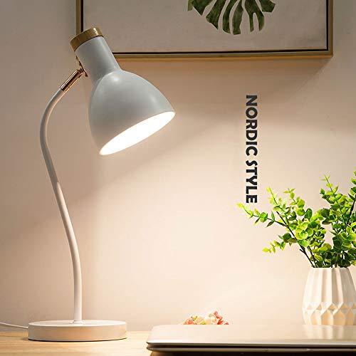 Einfache Nordische Verstellbare Tischlampe, Knopfartige Augenschutz-Schreibtischlampe, Schwarz/Weiß/Rosa/Blau Dekorationsleuchte, Schlafzimmer-Leselampe (Color : White)