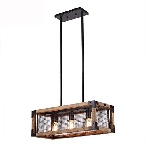 RONGW JKUNYU Lámpara Colgante de la lámpara del Vintage, Techo Jaula de Madera Light-3-Luz Madera Cocina Isla Iluminación Colgantes Lámparas de iluminación Pendiente Iluminación Colgante