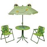 ZDW Kids 'Garden Furniture Set 4 Piece Green Outdoor Table Chair Umbrella Outdoor Parasol,Verde