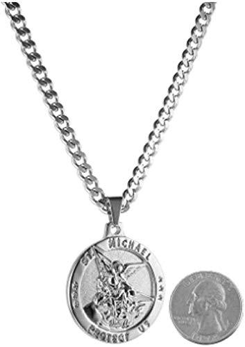 ZPPYMXGZ Co.,ltd Collar de Moda San Miguel Arcángel Medalla Católica Amuleto Colgante Collar Cadena de acera Rolo