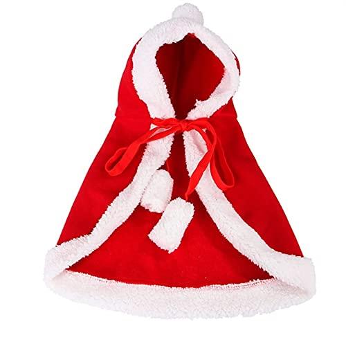 LSHAN Capa y Sombrero de Navidad para Mascotas,Capas Rojas navideas de Pap Noel para Perros y Gatos,Adorable Disfraz de Fiesta de ao Nuevo para Cachorro Gatito (Color : L)